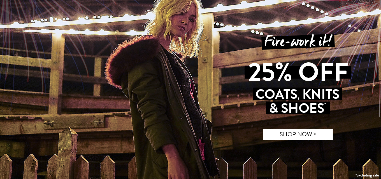 BooHoo: 25% off coats, knits & shoes