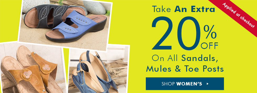 Pavers: extra 20 off on all Sandals, Mules and Toe Posts