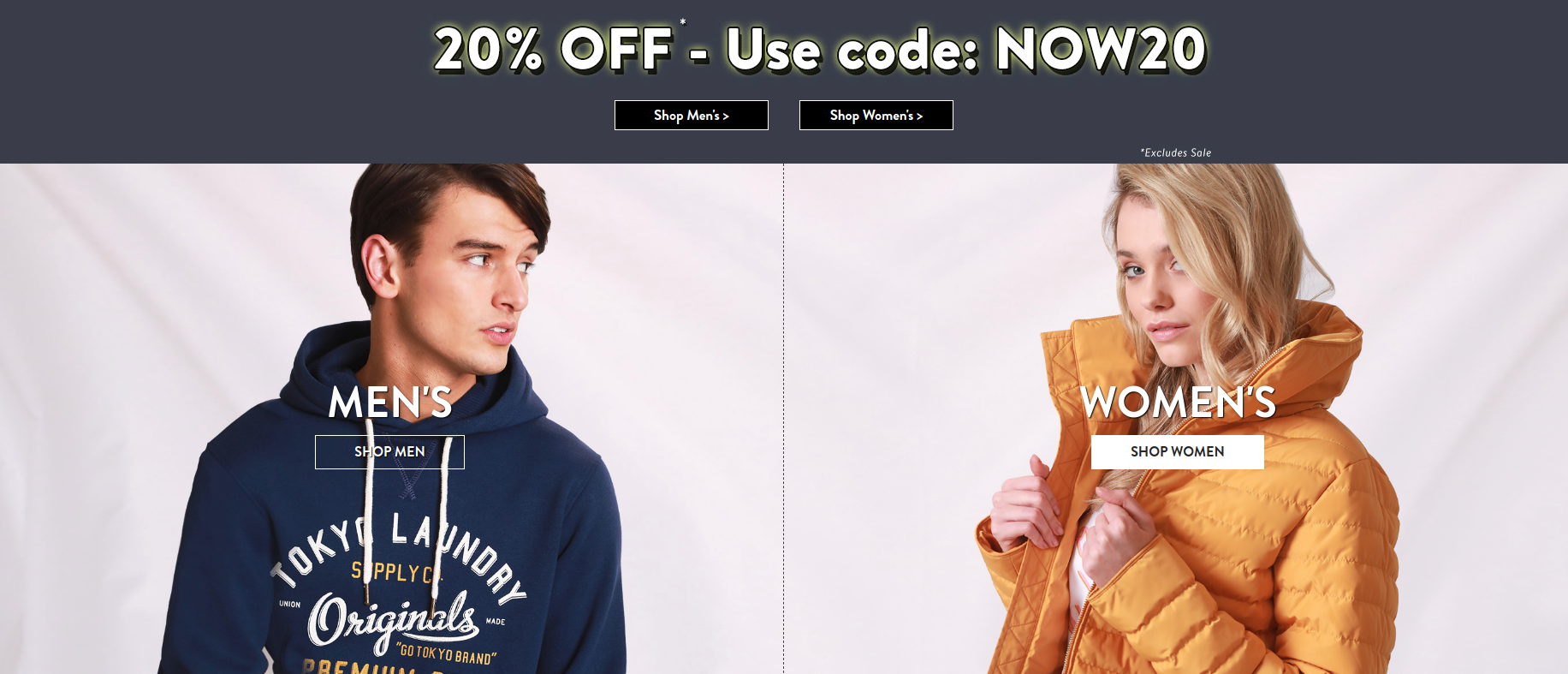 Tokyo Laundry Tokyo Laundry: 20% off womens and mens fashion