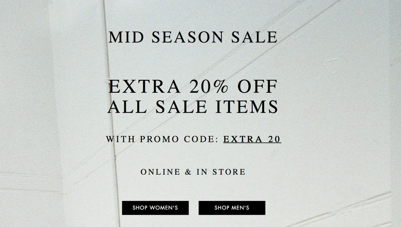 All Saints: Extra 20% off for all Mid Season Sale Items