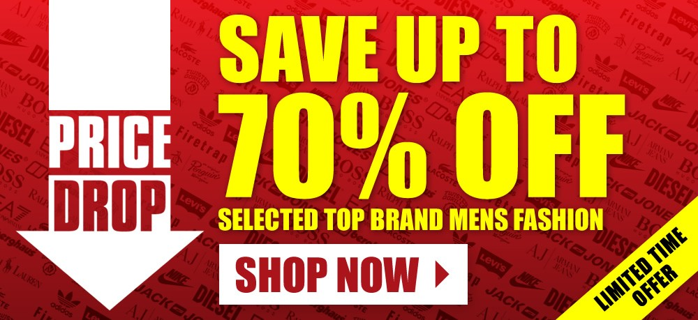 Ace: Sale up to 70% off selected top brands mens fashion