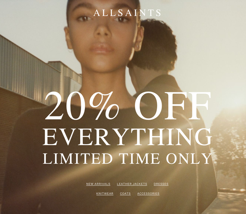 AllSaints AllSaints: 20% off women's clothing, footwear and accessories