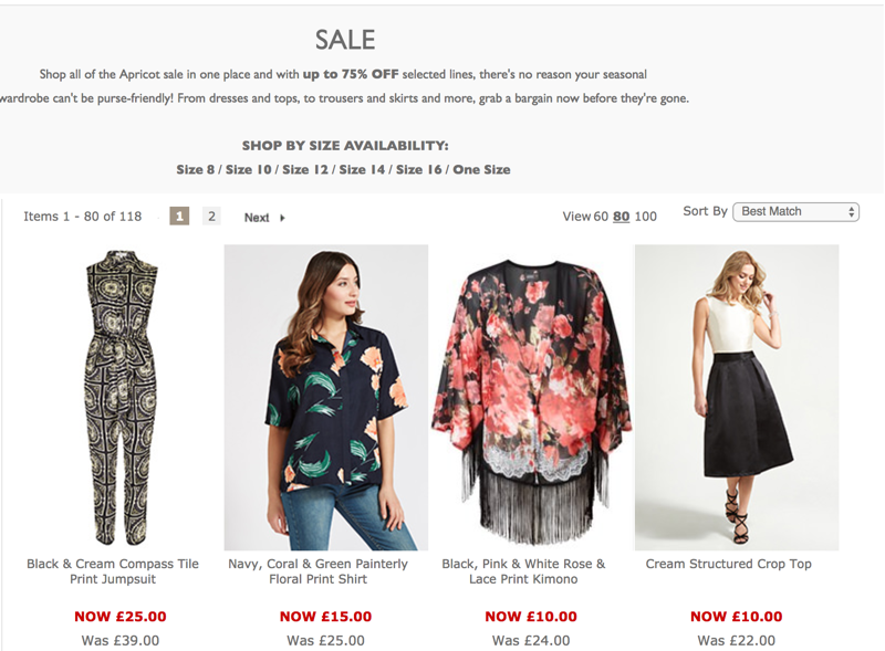 Apricot: up to 75% off women's dresses, tops, trousers and more