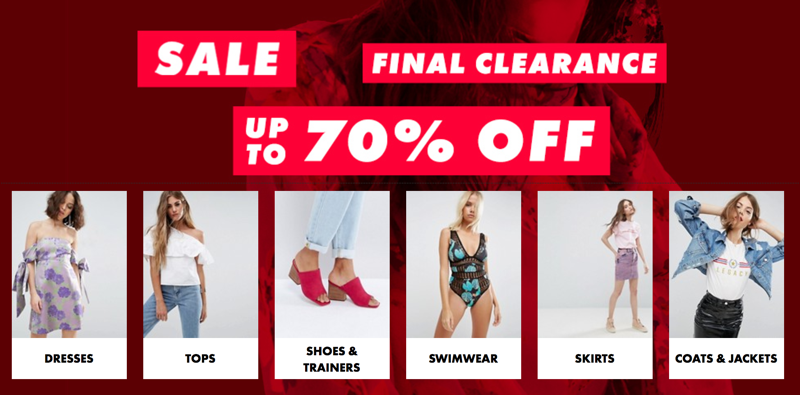 ASOS: Sale up to 70% off womenswear and menswear
