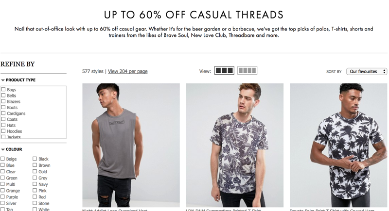 ASOS ASOS: Sale up to 60% off men casual threads