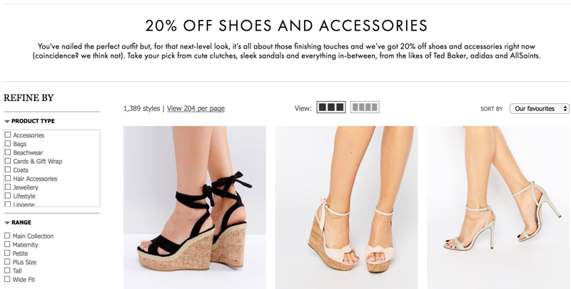 ASOS ASOS: 20% off women shoes and accessories
