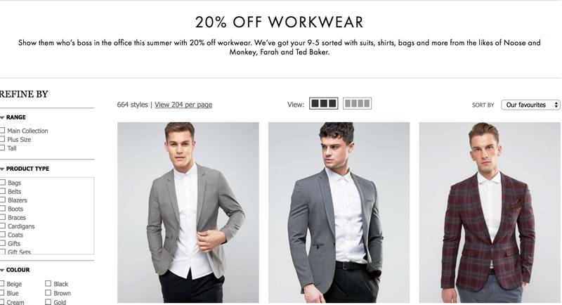 ASOS ASOS: 20% off men workwear