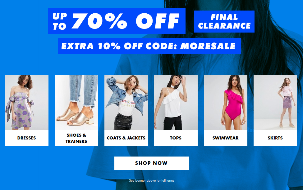 ASOS: extra 10% off products from summer sale up to 70% off
