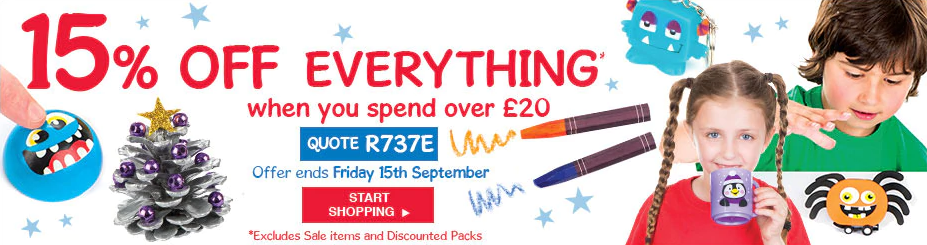 Baker Ross: 15% off everything from arts and crafts when you spend over £20