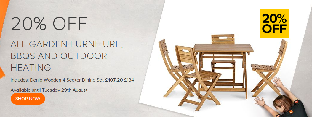 B & Q: 20% off all garden furniture, bbqs and outdoor heating