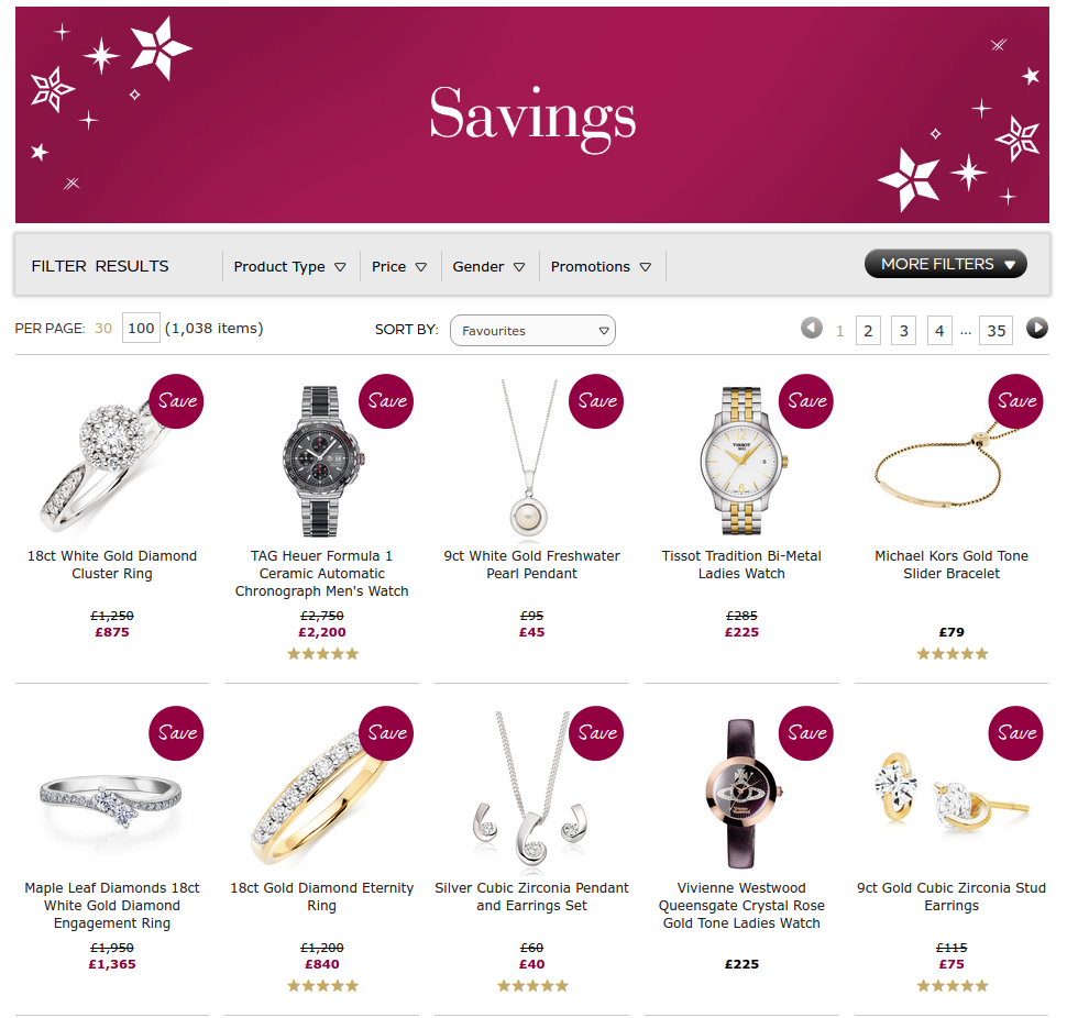 Beaverbrooks: up to 75% off engagment rings, diamonds, watches, jewellery