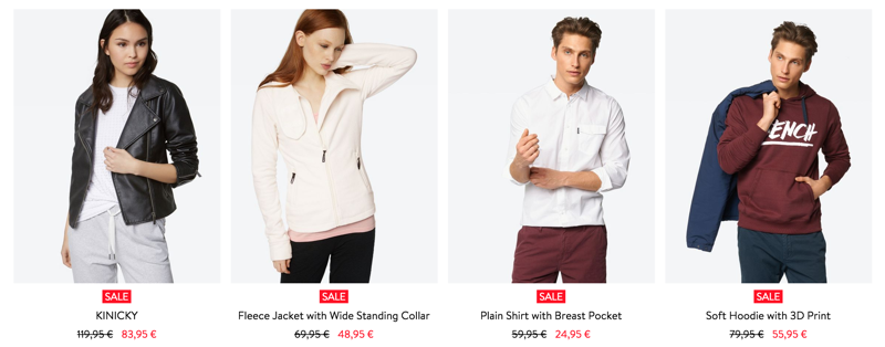 Bench: Sale up to 70% off clothes, shoes and accessories