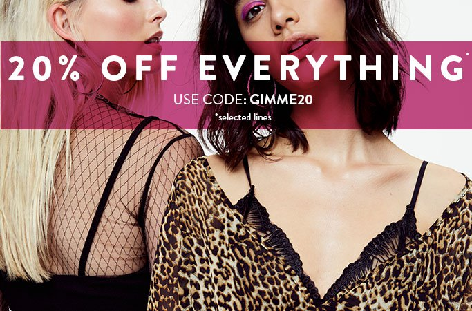 Boohoo Boohoo: 20% off everything from clothing, shoes and accessories