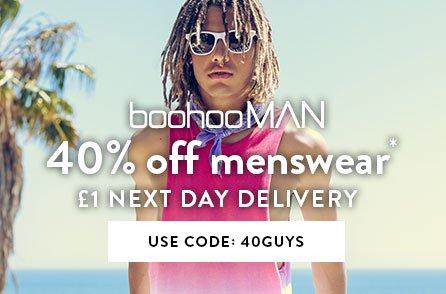 Boohoo: 40% off menswear