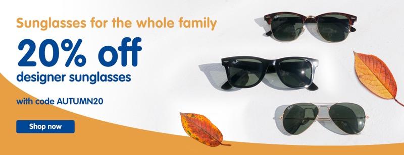 Boots Designer Sunglasses: 20% off designer sunglasses