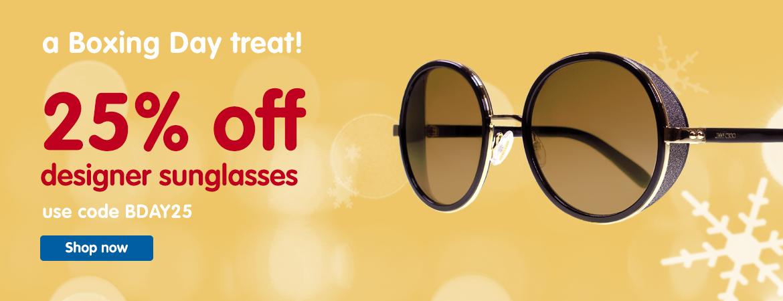 Boots Designer Sunglasses: 25% off designer sunglasses