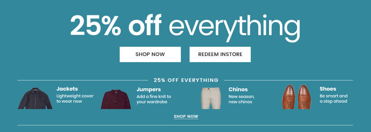 Burton: 25% off men jackets, jumpers, chinos and shoes