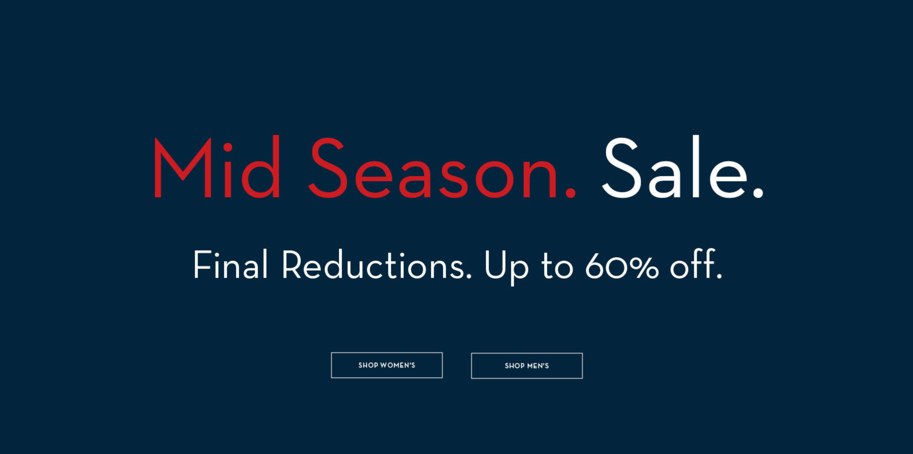 Crew Clothing: Mid Season Sale up to 60% off