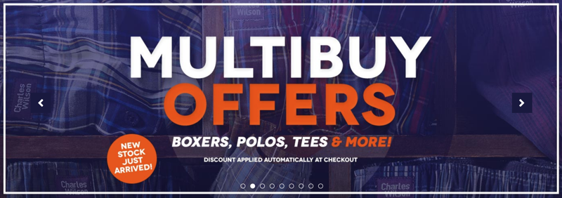Charles Wilson: up to 50% off boxers, polos, tees & more