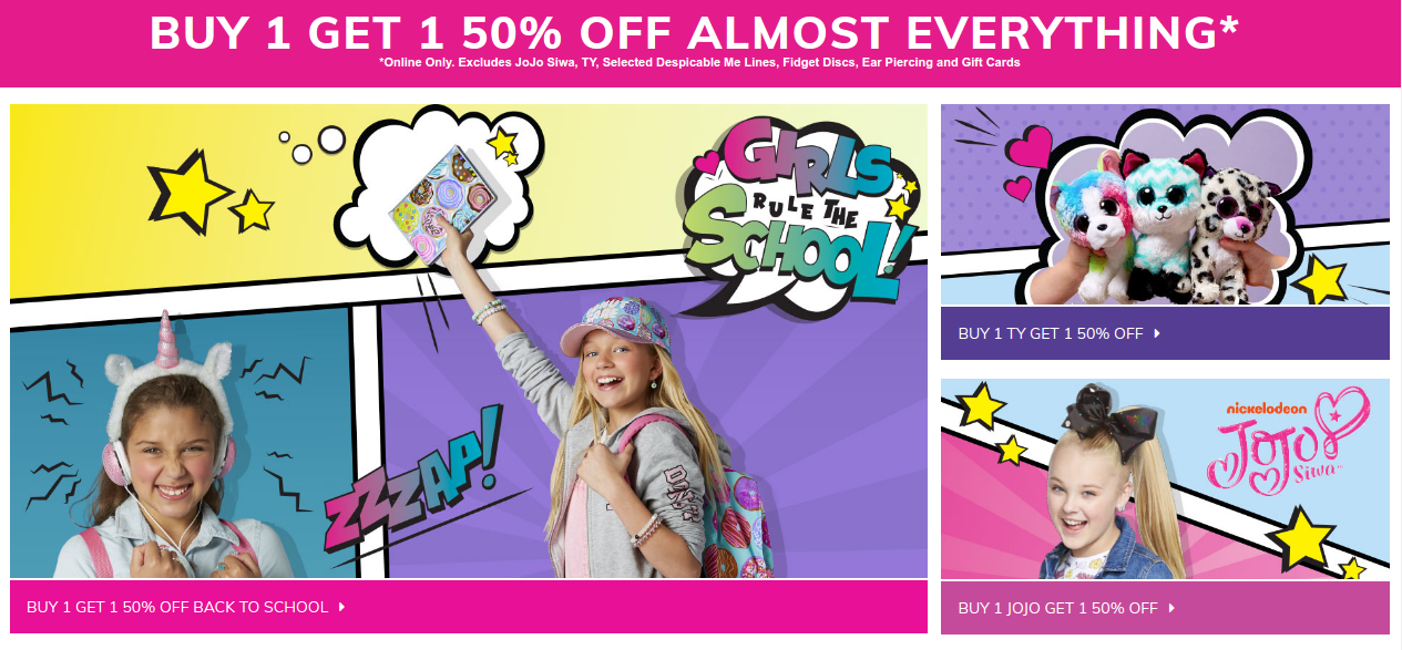 Claire's: Buy 1 Get 1  50% off almost everything