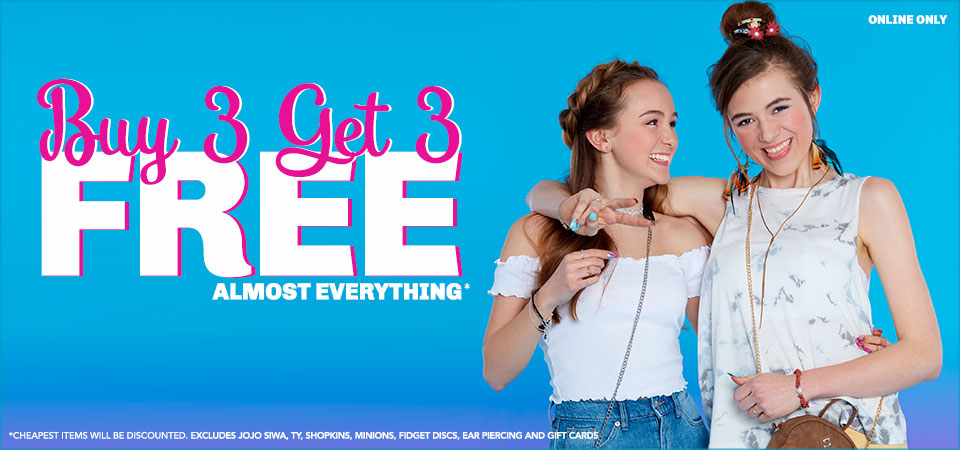 Claire's Claire's: Buy 3 get 3 free off jewellery, hair, accessories