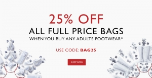 Clarks: 25% off all full price bags when you buy footwear