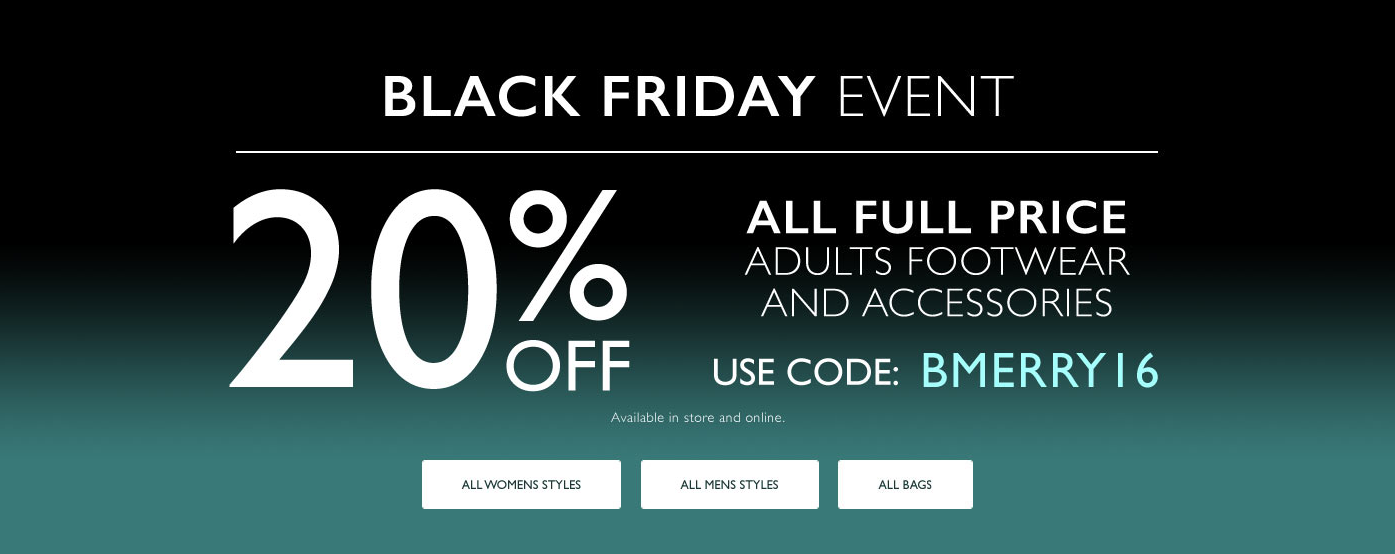 Black Friday Clarks: 20% off adults footwear and accessories