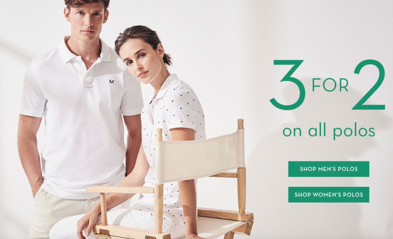 Crew Clothing: 3 for 2 on all polos