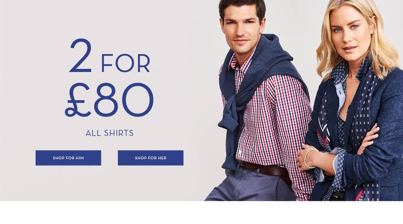 Crew Clothing Crew Clothing: 2 for £80 for all shirts