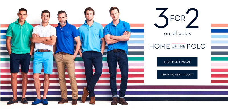 Crew Clothing Crew Clothing: 3 for 2 on all polos