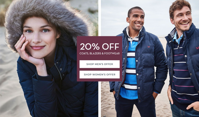 Crew Clothing: 20% off coats, blazers & footwear