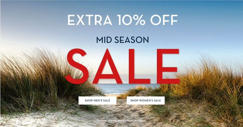 Crew Clothing: extra 10% off sale on  women's and men's fashion