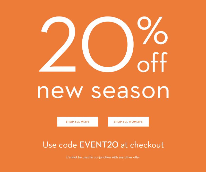 Crew Clothing: 20% off new season clothing