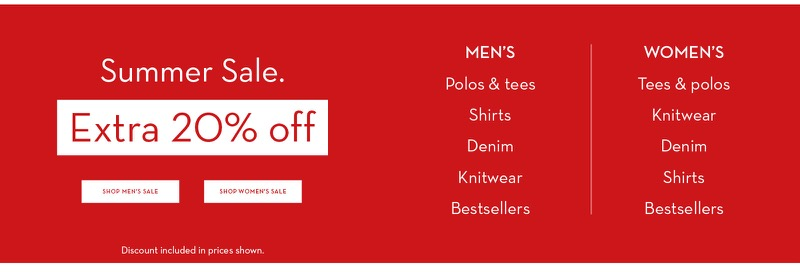 Crew Clothing Crew Clothing: extra 20% off women's and men's clothing