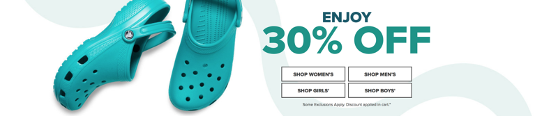 Crocs Crocs: 30% off shoes, sandals and clogs