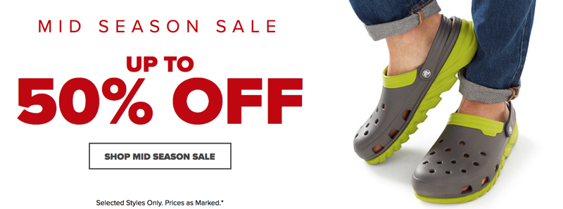 Crocs Crocs: Mid Season Sale up to 50% off shoes, sandals and clogs