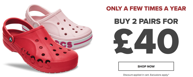 Crocs Crocs: buy 2 pairs of Crocs for £40