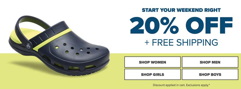 Crocs: 20% off shoes, sandals and clogs