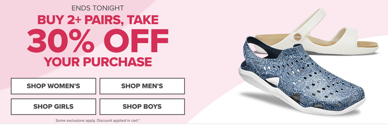 Crocs Crocs: buy 2+ pairs, take 30% off your purchase