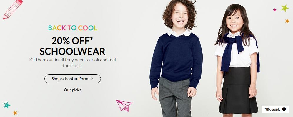 Debenhams: 20% off schoolwear