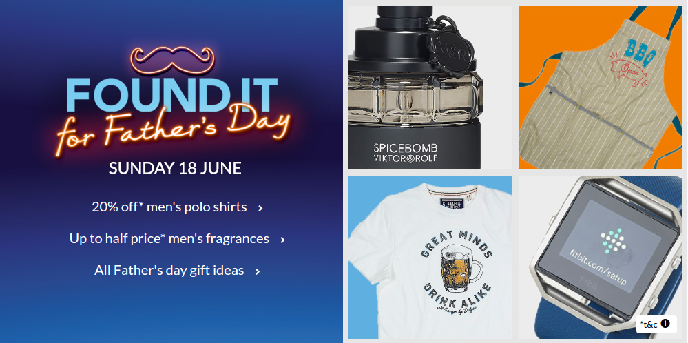 Debenhams: up to 50% off father's day gifts