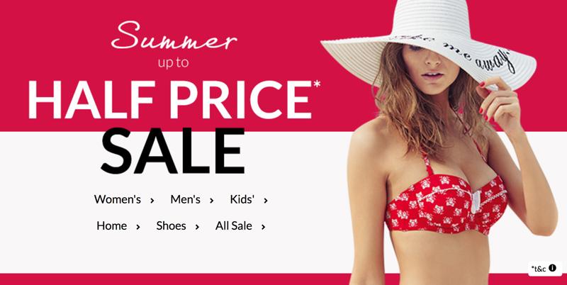 Debenhams: Summer Sale up to 50% off women's, men's and kids' items