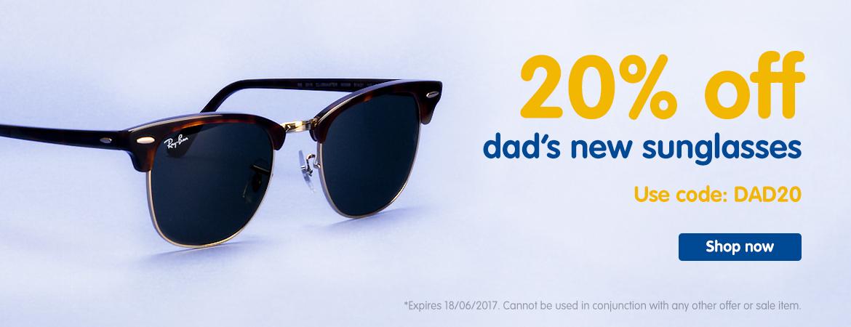 Boots Designer Sunglasses: 20% off dad's new sunglasses