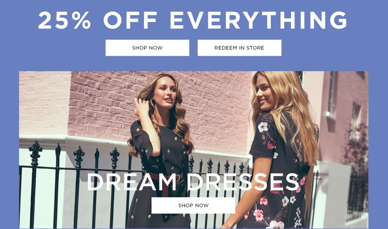Dorothy Perkins: 25% off clothing, shoes and accessories