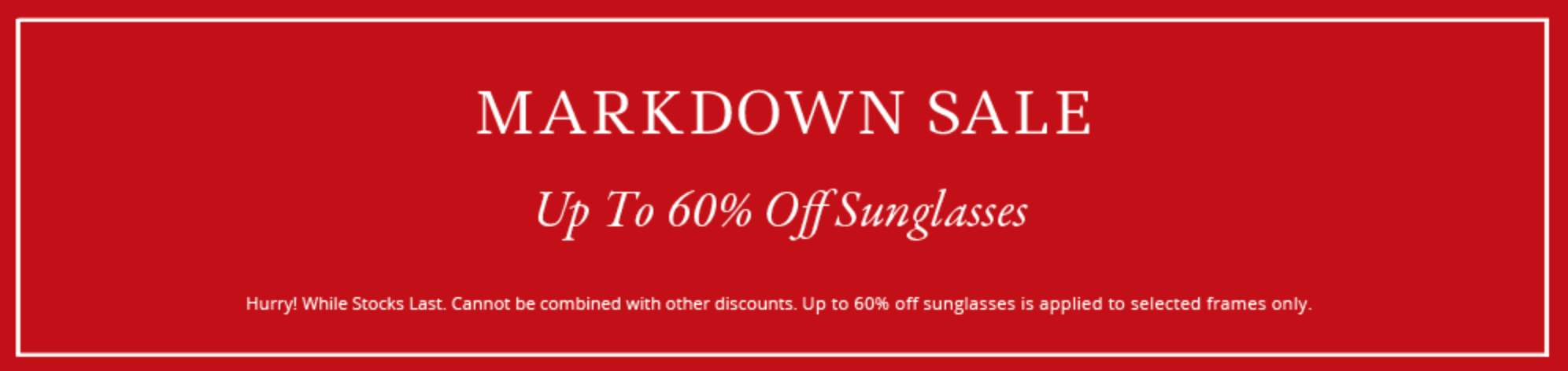 Eye Wear Brands: Sale up to 60% off sunglasses