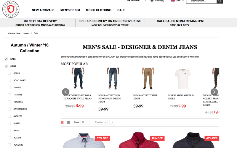 Etojeans: Sale up to 75% off mens designer clothing