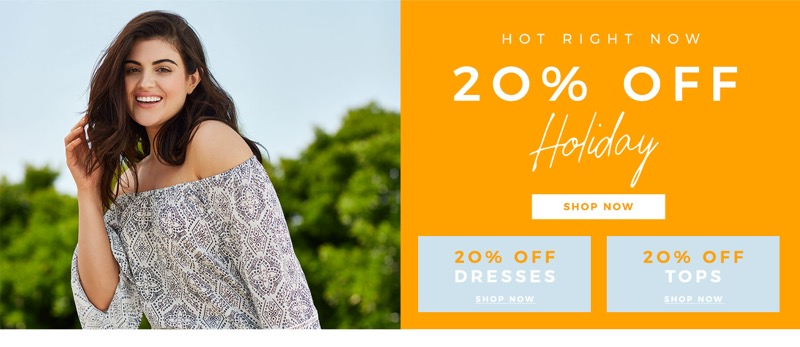Evans Clothing: 20% off dresses and tops