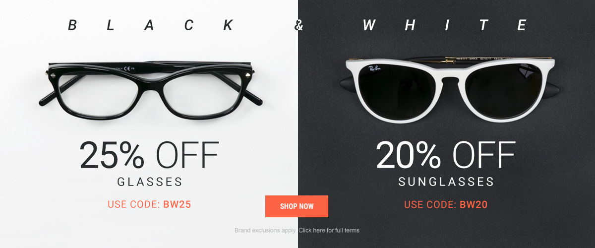 Eyewearbrands.com: Black and White promotion up to 25% off glasses and sunglasses