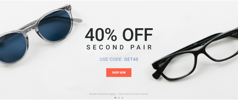 Eyewearbrands.com Eyewearbrands.com: 40% off second pair of sunglasses
