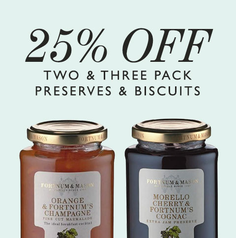 Fortnum & Mason: 25% off two & free pack preserves & biscuits